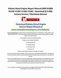 Kubota Diesel Engine Repair Manual D905 D1005 D1105 V1205