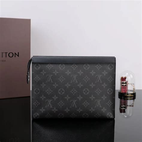 replica men lv louis vuitton  pochette voyage clutch bag monogram handbag gray lv