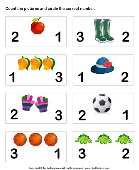 count pictures  circle worksheet turtle diary