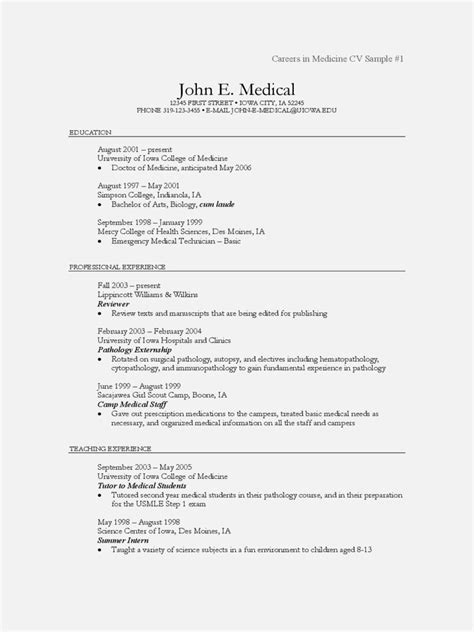 physician cv template physician cv exles and templates resume template cover letter
