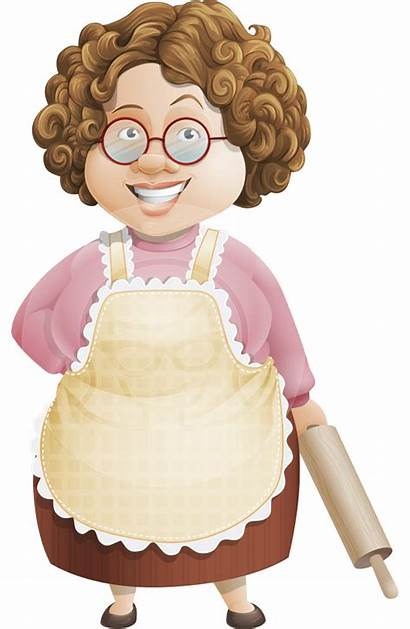 Cartoon Grandma Granny Character Vector Chef Clipart