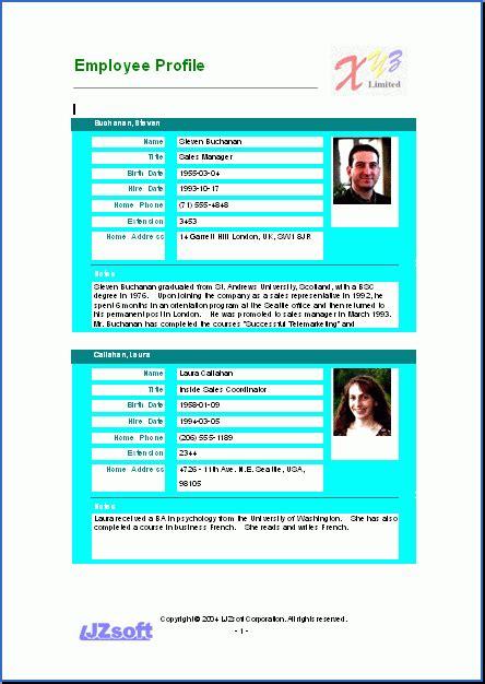 employee profile template employee profile template best business plan template