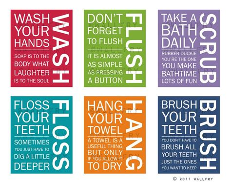 Full Set Of 6 Bathroom Art Prints. Bathroom Rules. Kids