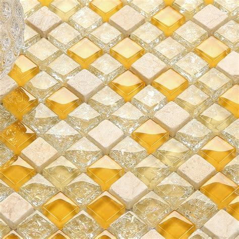 lovely yellow crystal mixed clear glass & stone mosaic