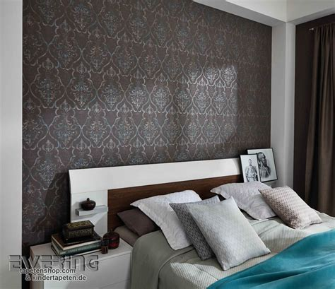 wandtapete schlafzimmer loft charakter mit den elaganten ornamenten als