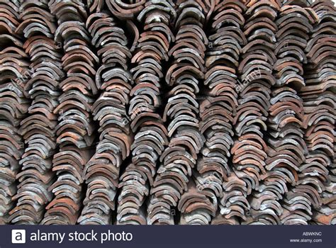 terracotta antique reclaimed stacked roof tile curved