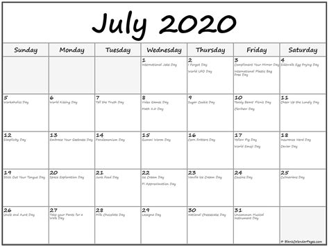 july  calendar  holidays