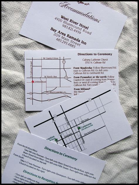 custom map directions and accommodations card for