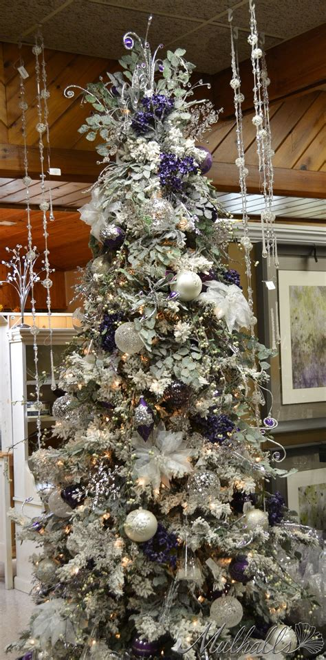 frosted purple white christmas tree pinned  ton van der