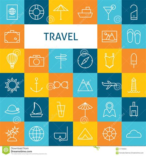 vector flat line modern travel vacation and resort and