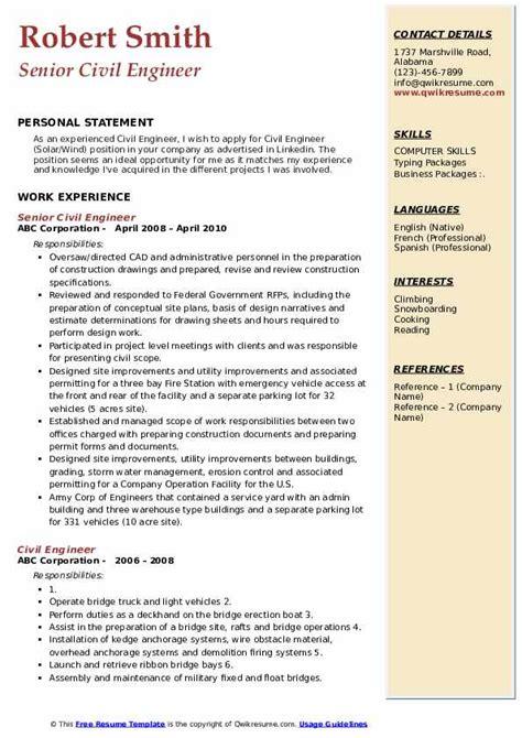 civil engineer resume samples qwikresume
