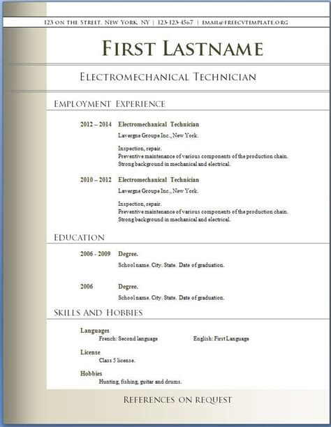 Resume Format In Word Free by Resumes Best Free Cv Template United States Also