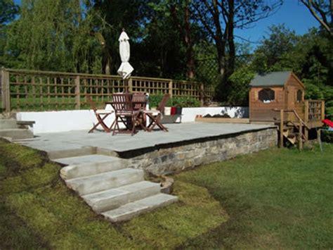 raised patio area in garden