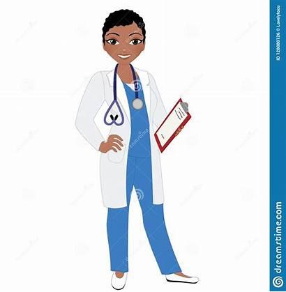 Doctor Coat Lab Scrubs Woman African American