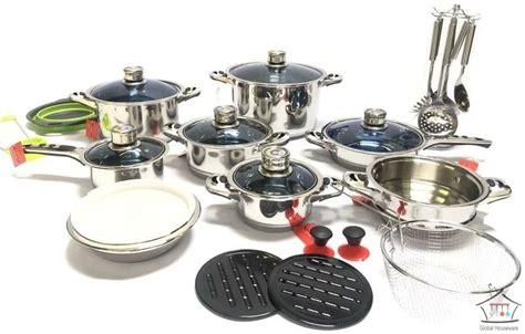 cookware set mafy stainless steel  blue glass lids  piece global houseware