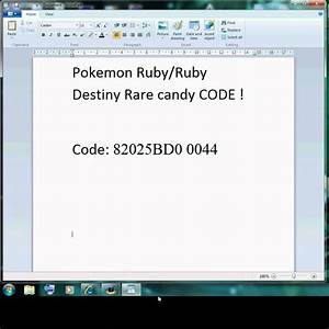 Ruby Gameshark Codes Rare Candy Gamesworld