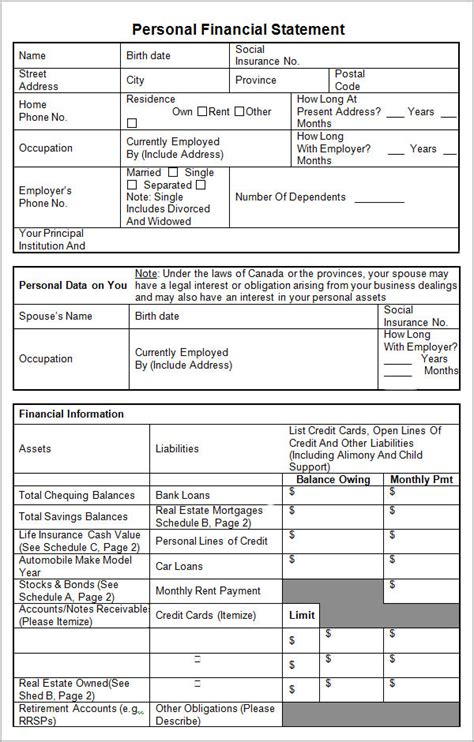 sample personal financial statement templates sample