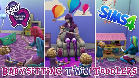 sims    pony babysit twin toddlers lets