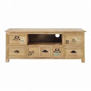 Meuble Tv Maison Du Monde : meuble tv bois naturaliste maisons du monde ~ Teatrodelosmanantiales.com Idées de Décoration