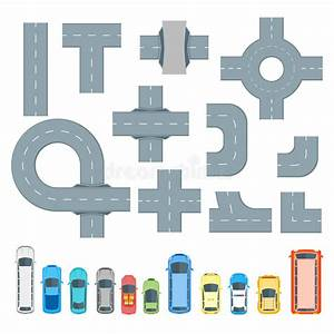 Road Element And Cars Set Top View. Vector Stock Vector ...