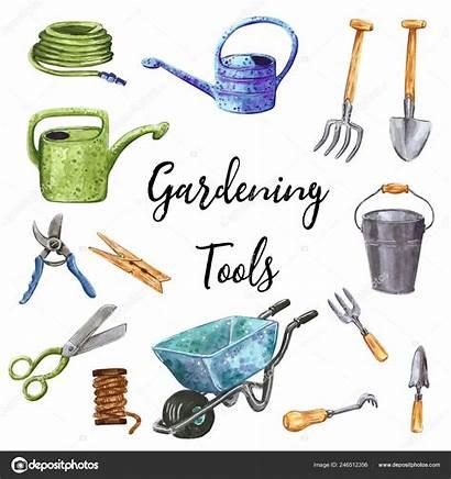 Tools Clip Garden Gardening Watercolor Clipart Drawn