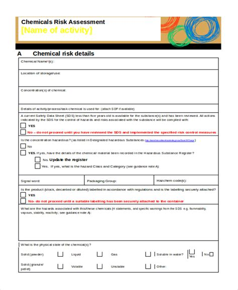 Chemical Risk Assessment Template by Sle Risk Assessment Form 18 Free Documents In Word Pdf