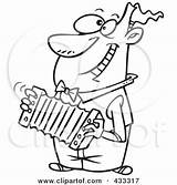 Accordion Playing Coloring Cartoon Clipart Happy Line Player Royalty Rf Leishman Ron Printable German Toonaday Illustrations Entertainers Poster Graphics Clipartof sketch template