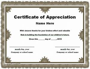 31 free certificate of appreciation templates and letters for Free certificate of appreciation template downloads