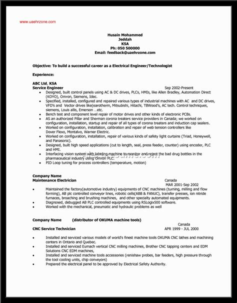 Industrial Electrician Resume Format by Industrial Electrician Resume Sle Best Format Design Bild