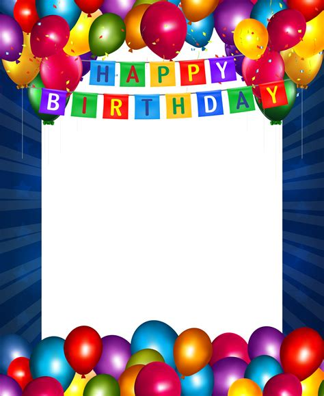 happy birthday blue transparent png frame  images