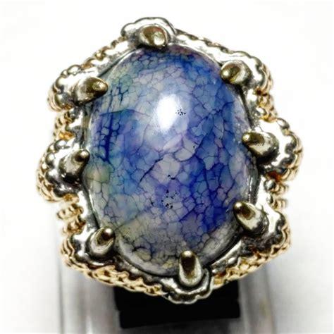 Batu Cincin Sisik Naga jual cincin batu akik sisik naga biru unik dyed di lapak