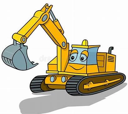 Excavator Cartoon Illustration Vector Clipart Smiling Cat