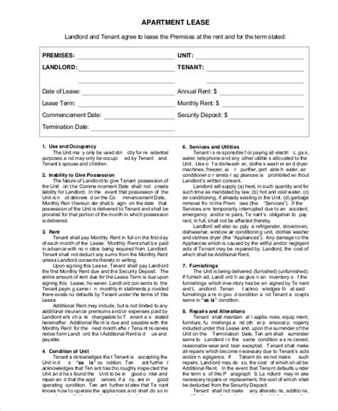 apartment lease agreement templates word  pages