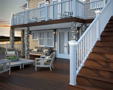 deckorators dark brown composite deck  white aluminum