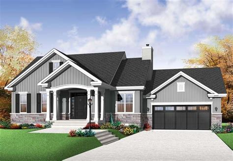 craftsman style house plan    bed  bath  car garage american houses bungalow