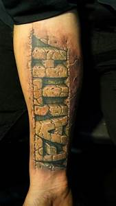 tattoos by pavel angel inked magazine wow everything With stone tattoo letters