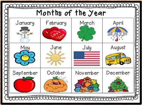 number names worksheets 187 months of the year kindergarten