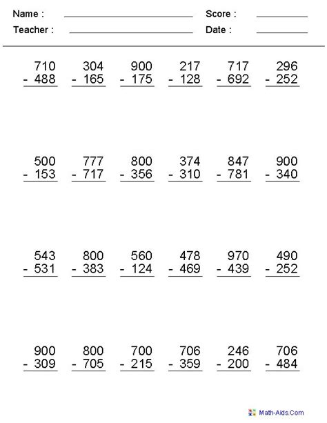 subtraction   worksheets  grade math