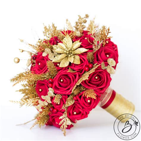 Red And Gold Glitter Winter Wedding Bouquet The Bridal