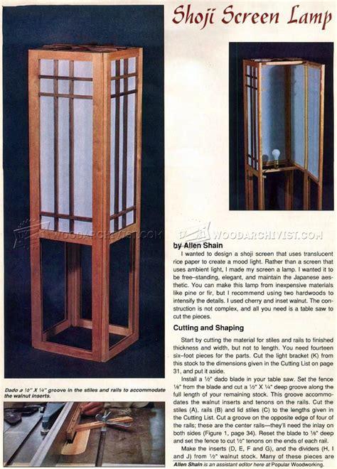 shoji screen lamp plans woodarchivist