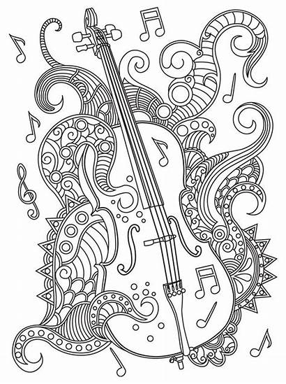 Coloring Mandala Musique Instrument Adults Coloriage Mandalas