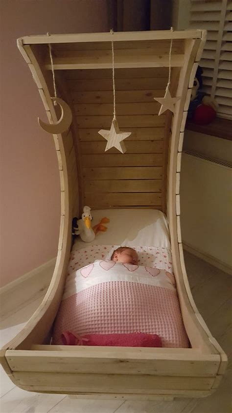 homemade pallet  moon cradle kids baby furniture