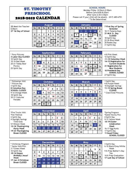 calendar st timothy preschool