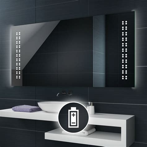 Battery Operated Bathroom Mirrors by Battery Powered Led Illuminated Bathroom Mirror Battery
