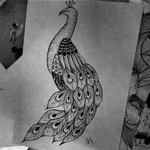 Peacock Design Black And White