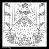 Coloring Pages Dresses Colouring Dress Marriage Books Adults Sheets Princess Blank Adult Printable Bridal Ceremony Web Simple Bride Cream Odd sketch template