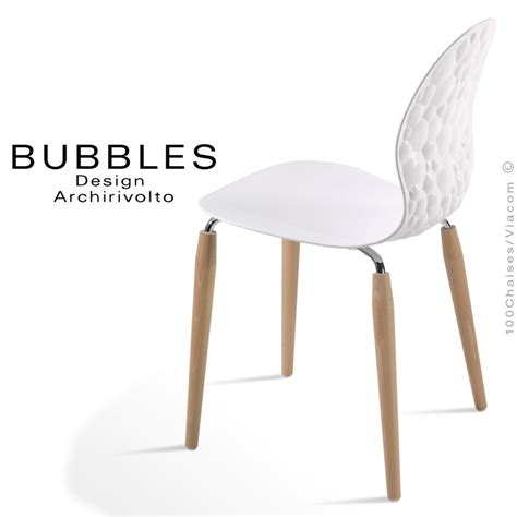 chaise design bois naturel chaise design translucide bubbles assise plastique piétement bois