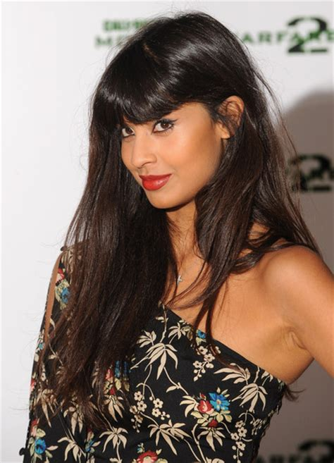 Jameela Jamil Long Straight Cut with Bangs   Jameela Jamil