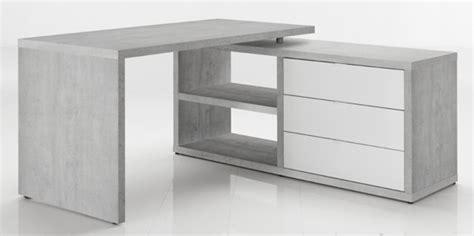 plan bureau d angle bureau d 39 angle réversible pratico béton blanc brillant