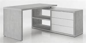 Bureau D Angle Design : bureau d 39 angle r versible pratico b ton blanc brillant ~ Teatrodelosmanantiales.com Idées de Décoration